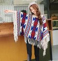 Winter Autumn Knitting Sweaters Geometric Women Ponchos And Capes Batwing Tassel Cloak Fringed Irregular Tops Poncho Shawl S17
