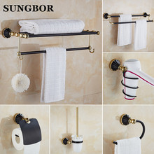 European style Antique Wall Mounted Black Brass Bathroom Wall Stand towel rack, shelf,storage,toilet Brush for Home GJ-3389H