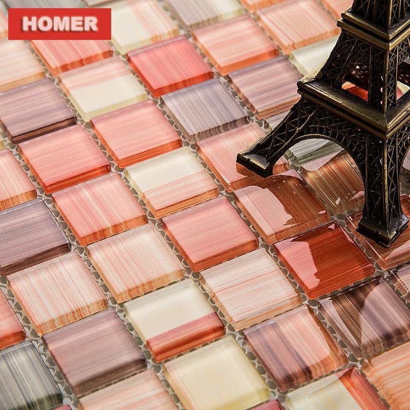 orange hand painted DIY crystal glass mosaic tiles ...