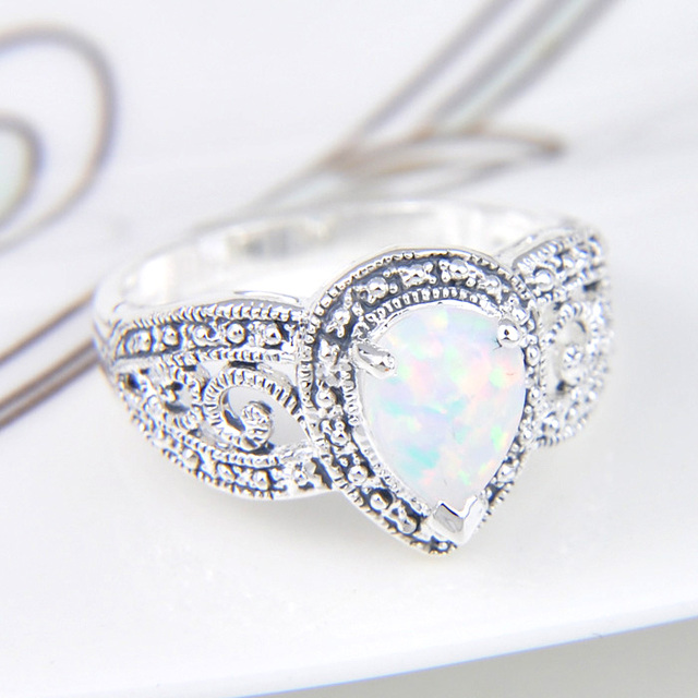 White Fire Opal Siver Plated Wedding Engagement Ring