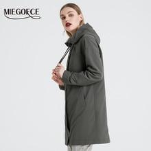 2020 春と秋ロング女性のトレンチコートスタンド襟フード付き女性合成女性のコート新デザイン Miegofce