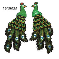 Pair Of 3D Embroidered Patches Sequined Appliques Sew On Zakka Patchwork DIY Handmade Peacock Pattern