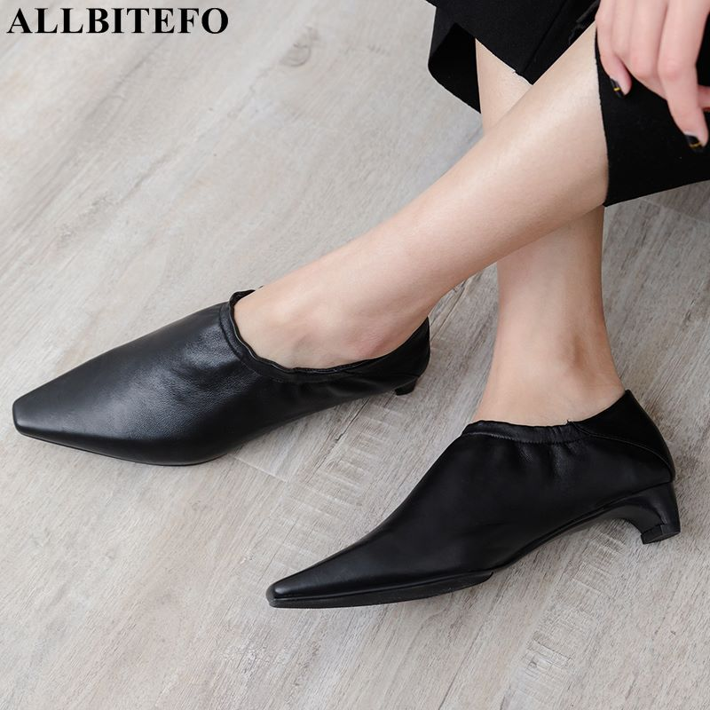 ALLBITEFO hot sale soft genuine leather women low heel shoes for woman fashion leisure girls spring