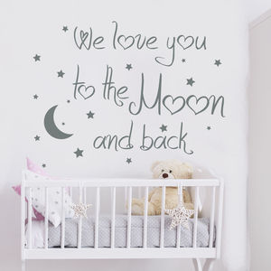 We Love You To The Moon And Back Quote Wall Decal Moon Decal Nursery Decor wall stickers for kids rooms Nursery Kids Room D968(China)