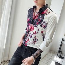 4735d40bc4c Необычные футболки Для мужчин Slim Fit Camisa социальной Masculina 2018  новый осень клуб Выходные туфли на выпускной бал рубашка.