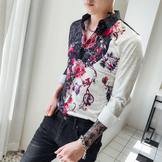 b998bc7e8dbcb Fantasia Camisas Dos Homens Slim Fit Camisa Social Masculina 2018 New Club  Party Prom Homens Da