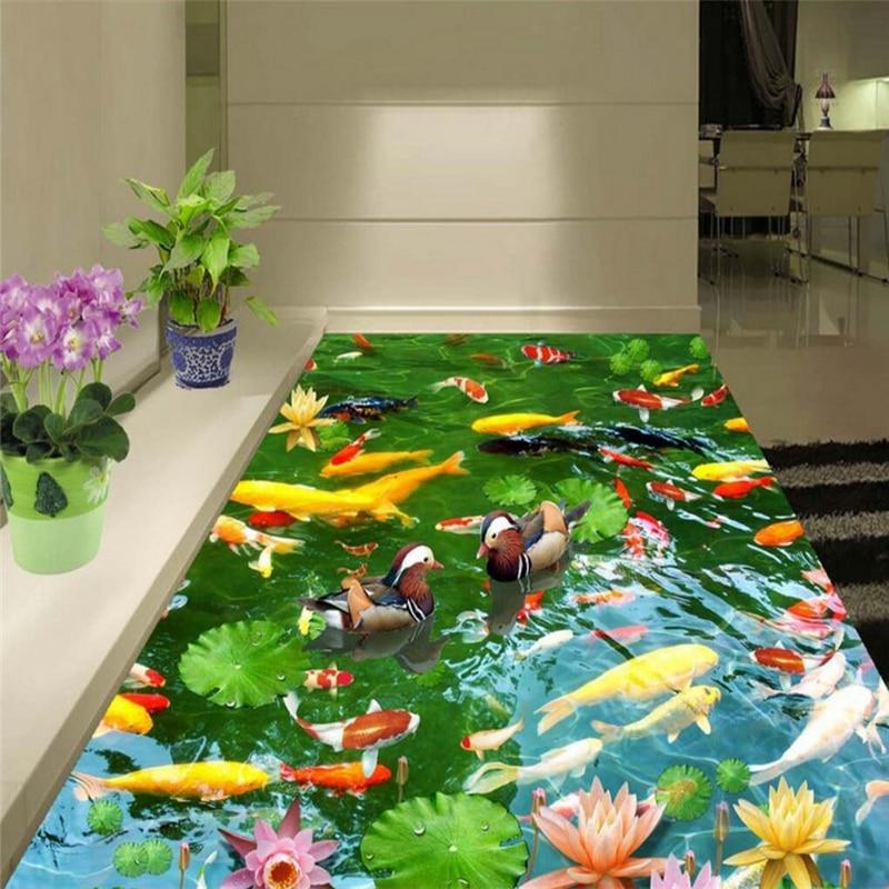 beibehang Hawthorn duck goldfish Custom 3D Floor Wall paper Toilets Bathroom Bedroom PVC Floor Sticker Painting Mural Wallpaper chinese new harvest hawthorn extract hawthorn berry extract flavone 600g
