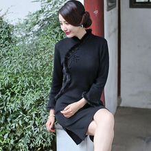 เซ็กซี่สีดำผู้หญิงทำด้วยผ้าขนสัตว์กระต่ายผมCheongsamแน่นใหม่ที่สง่างามF Loreแขนจีนชุดแปลกเซ็กซี่มินิสั้นQipao
