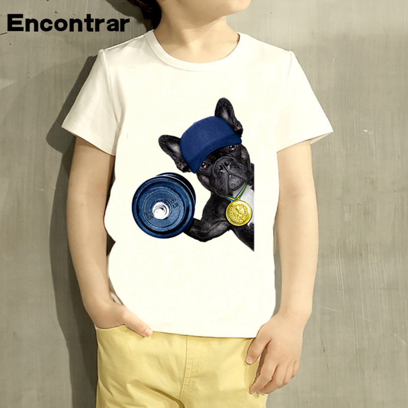 2c5ebb1d16d9 Kids Champion French Bulldog Cartoon Design T Shirt Boys Girls Short Sleeve  Tops Children Cute T-Shirt