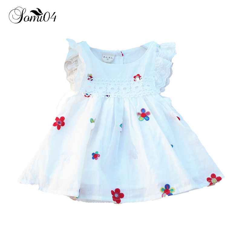 0-2 Years Newborn Baby Girl Dress Summer 2018 Embroidery Flower Strawberry Cotton Clothi ...