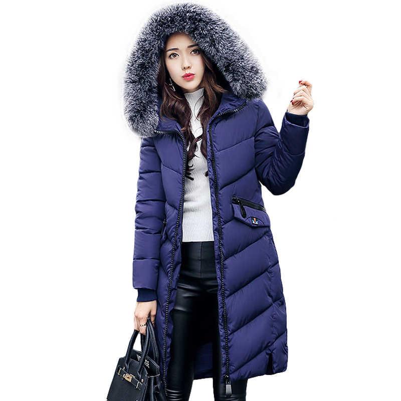 2018 الشتاء النساء معطف مقنع الفراء طوق رشاقته الدافئة سترة طويلة معطف المرأة الفتيات طويلة ضئيلة كبيرة معطف الفرو سترة أسفل سترة