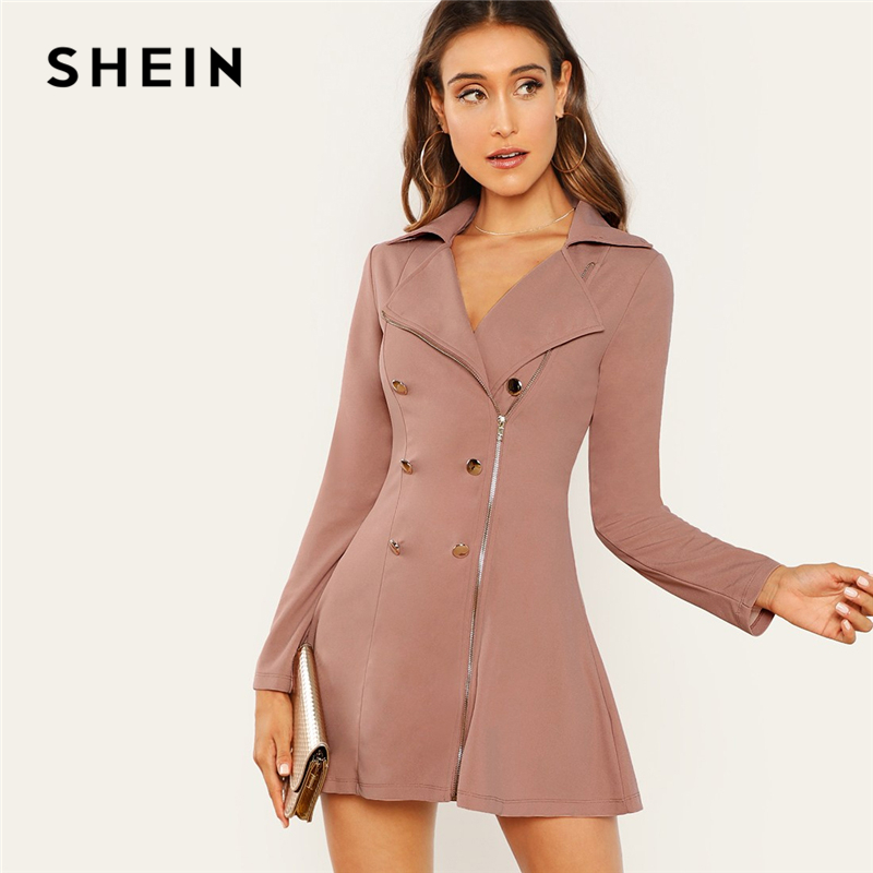 40ab495ee1 SHEIN Pink Double Breasted Zip Front Blazer Dress Notched Workwear Plain  Fit and Flare Mini Dresses