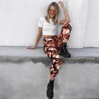 AOWOFS Hot Vrouwen Camouflage Broek Oranje Camo Broek met zakken hoge Taille Hip hop Meisjes Militaire Geel Pant Jogger dance broek