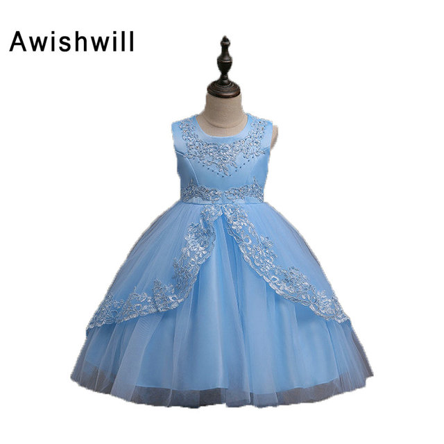 2018 Flower Girl Dresses For Weddings Ball Gown Scoop Neck Satin and ...