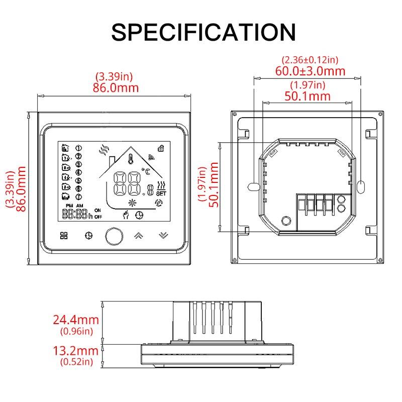 WiFi Central climatiseur Thermostat régulateur de température ventilateur bobine unité travail avec Alexa Google maison intelligente maison 2 tuyau - 6