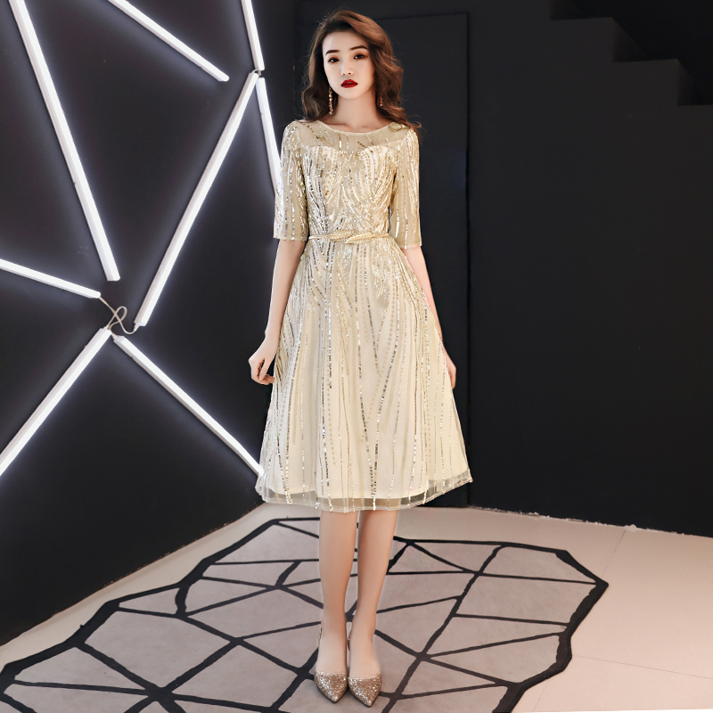 2019 Hot Sales Short Sleeve Champagne Fashion Designer Lace Elegant   Cocktail   Gowns   Cocktail     Dress   LF157
