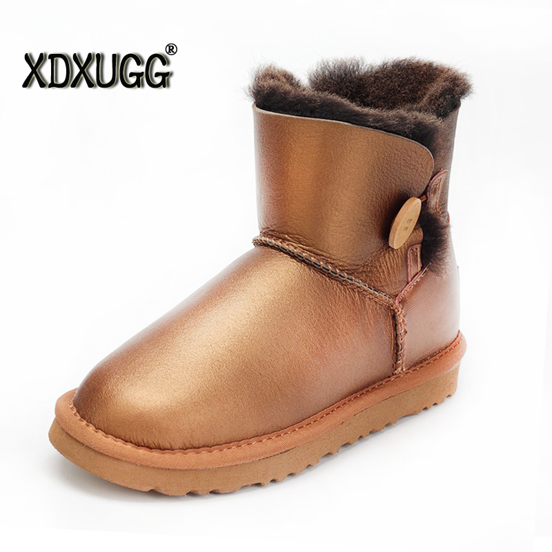 High-quality!Australia Natural sheep fur one snow boots female buckle Short boots winter warm waterproof shoes free shipping