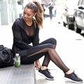 2016 Фитнес Леггинсы Женщины Высокой Талией Лоскутное Сетки Леггинсы Узкие Push Up Calzas Deportivas Mujer Фитнес