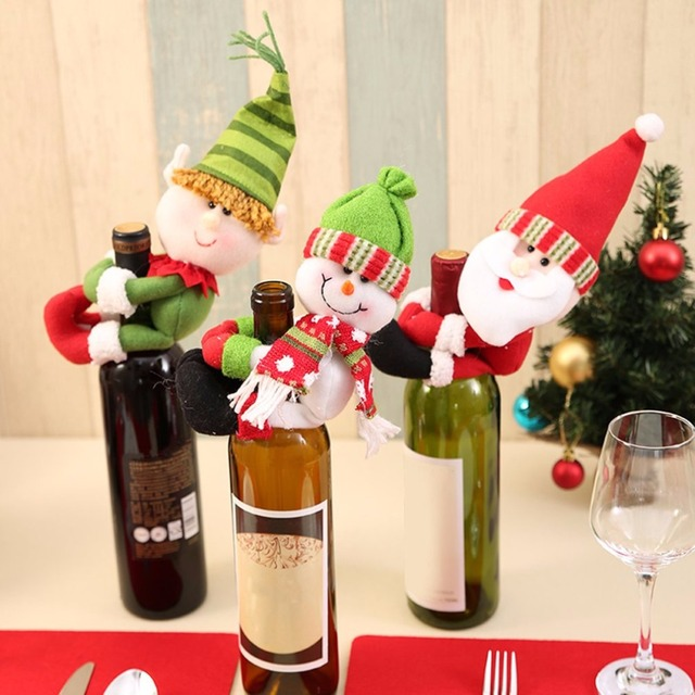 cute christmas party home decor red wine bottle hold ornament cover clothes dinner table decoration drop