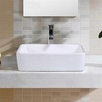 Modern White Toilet Wash Hand Basins Bathroom Rectangle Ceramic Vessel Sink Bowls BA7147