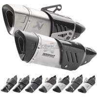 Real Carbon Fiber 500cc 600cc Universal Motorcycle exhaust pipe muffler R11 R6 R1 CBR500 Z900 Z750 akrapovic exhaust escape moto