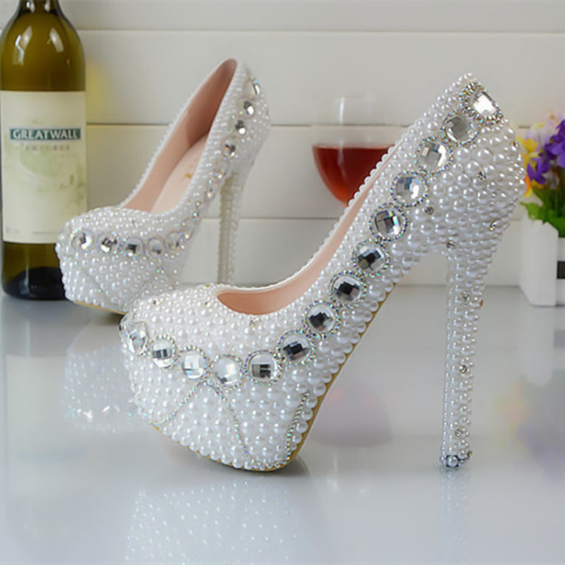 Women White Pearl Rhinestone Shoes Bride Wedding Sexy Elegant Diamond  Crystal Party High Heels Platform Pumps In Womenu0027s Pumps From Shoes On  Aliexpress.com ...
