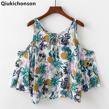 Qiukichonson Cold Shoulder Tops Ladies 2018 Summer Bohemian Style Pineapple Print Floral Blouse Kawaii Baby Doll Cropped Shirts yellow cold shoulder floral print pleated blouse