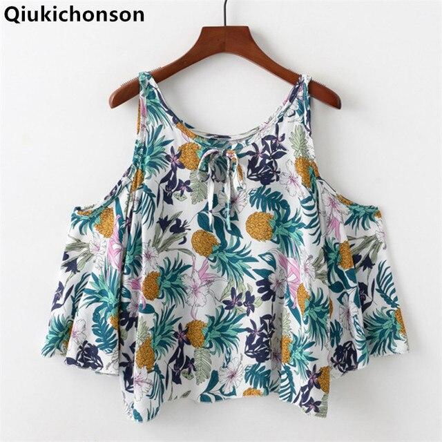 ec2e9246f5cf4 Qiukichonson Cold Shoulder Tops Ladies 2018 Summer Bohemian Style Pineapple  Print Floral Blouse Kawaii Baby Doll