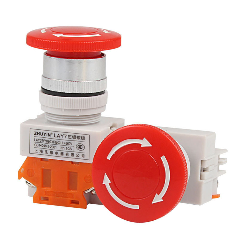 AC 600V 10A Red Mushroom Cap 1NO 1NC DPST Emergency Stop Push Button Switch Security Alarm