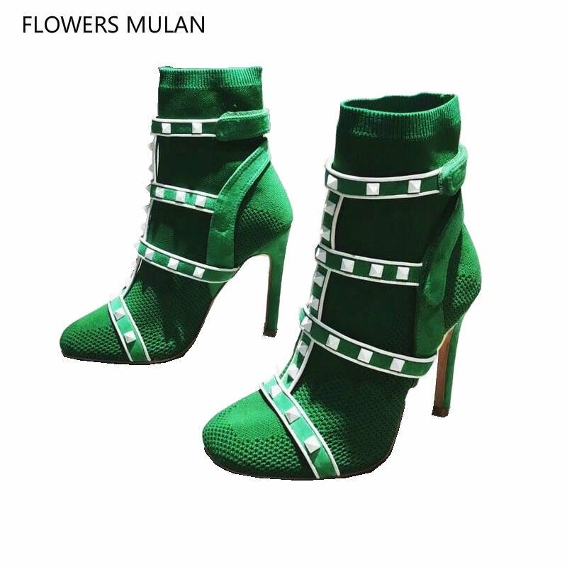 Новый сезон: весна–лето шипованных носок пинетки Для женщин сапоги зеленый красные, черные с заклепками женские ботинки из эластичной ткан...
