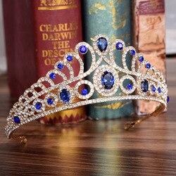 Fashion Hairwear Baroque Crown Red Blue Rhinestone Tiara Vintage Gold Wedding Hair Accessories Head Jewelry Bridal diadem Crowns