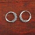 Стерлингового серебра 925 ретро круглый обруча Huggie бесконечные кольцо в носу серьги 10 мм A4022