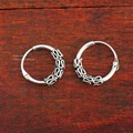 925 Sterling Silver Retro Round Huggie Hoop Endless Nose Ring Earrings 10mm A4022