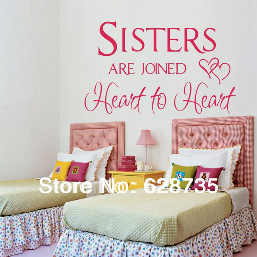 Ebay hot sisters are joined heart to heartwall quotes stickers ebay hot sisters are joined heart to heartwall quotes stickers for girls rooms decor girl wall decals free shipping q0220 in underwear from mother kids amipublicfo Images