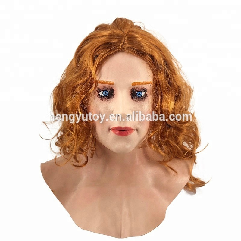 Halloween Máscara De Látex Verdadeiro Escarlate Feminino Mulher Rosto Crossdressing Sissy