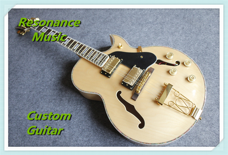 Free Shipping Nature Wood Jazz Electric Guitar Hollow Body ES 175 Guitarra Color Binding Chinese Left Handed Available top selling emerald green classical chinese jazz electric guitar with bigsby hollow guitar body