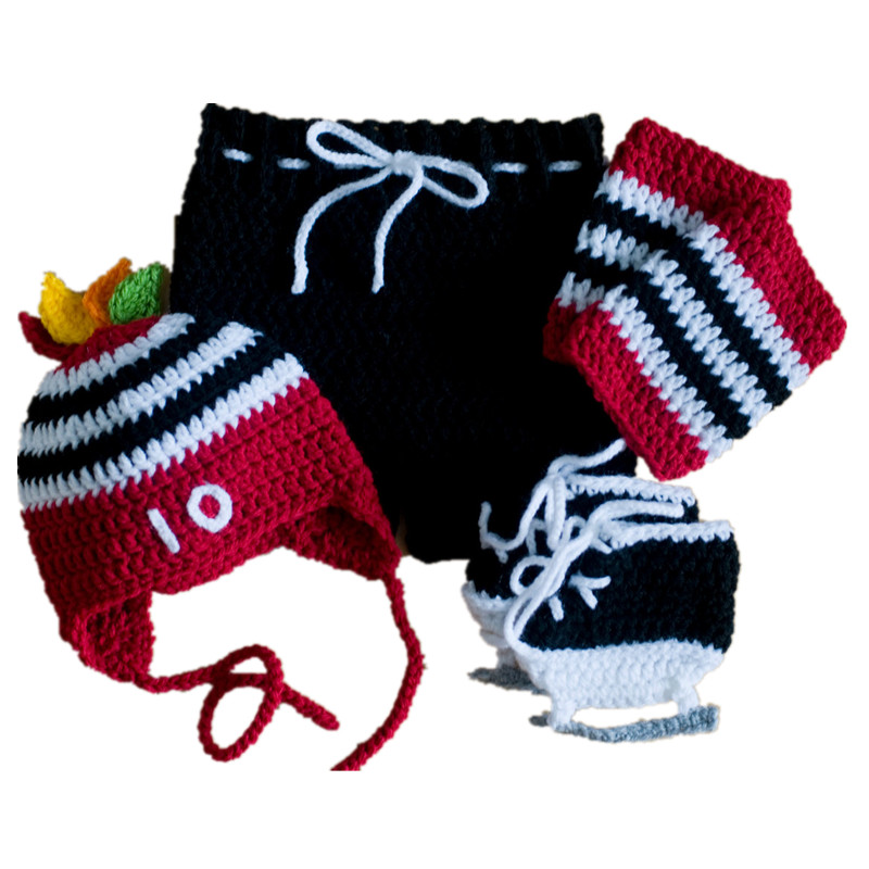 Newborn Hockey Team Costume,Handmade Knit Crochet Baby Boy Girl ...