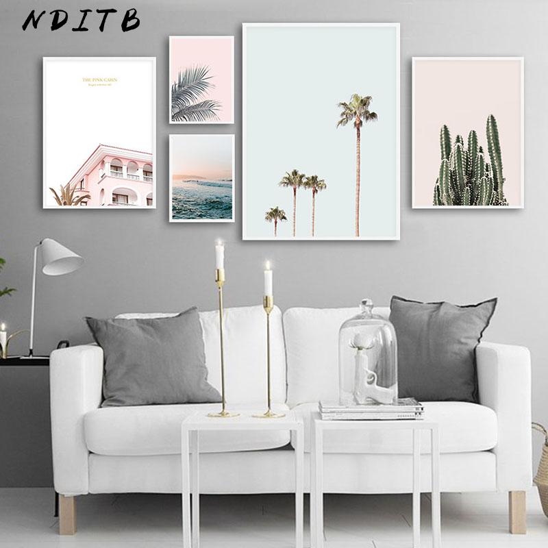 Scandinavian Landscape Canvas Wall Art Poster Nordic Style Ocean Cactus Palm Tree Print Painting Nature Decoration Pictures