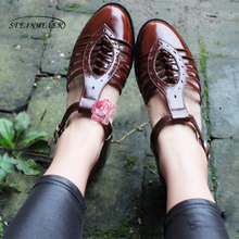 Women genuine Leather oxford Sandals hollow shoes women handmade vintage round Toe British style oxford summer shoes