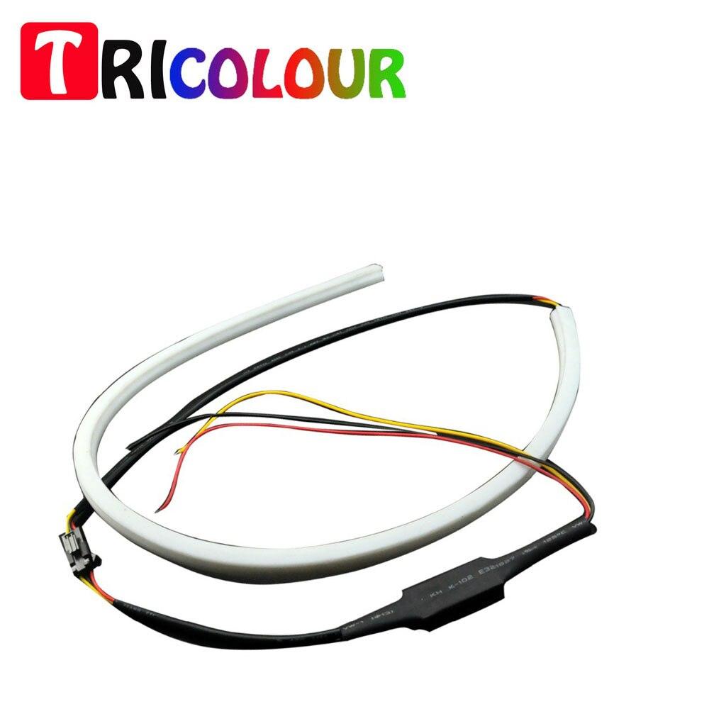 AutoEC 1pair x 60CM 335SMD 12W White Yellow Flexible drl Switchback Strip led Daytime Running Lights Turn Signal Light#TM48-1 1 pair car led lights 12 24v drl head lights 8w turn light strip
