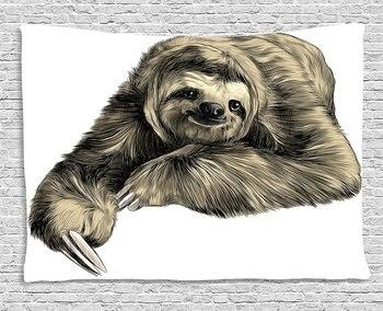Tapiz De Pared Personalizado | Tapiz De Pereza Suave Sonriente Animales De La Selva Tumbados Con Las Piernas Cruzadas Dibujo De La Fauna Tropical, Colgante De Pared Para El Dormitorio