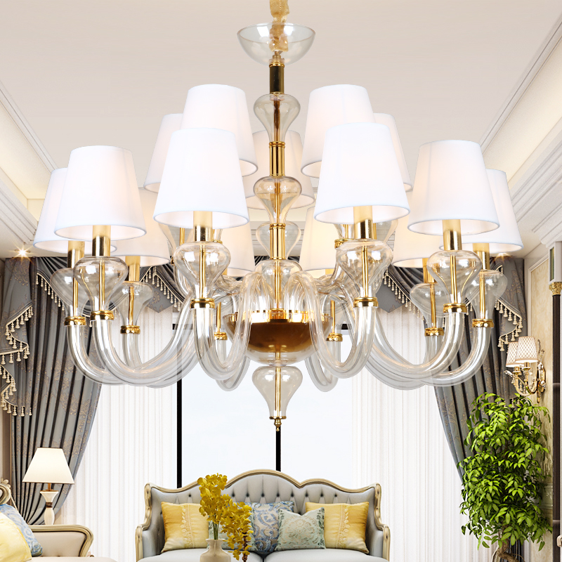 Modern Glass Chandelier With Lampshade For Living Room