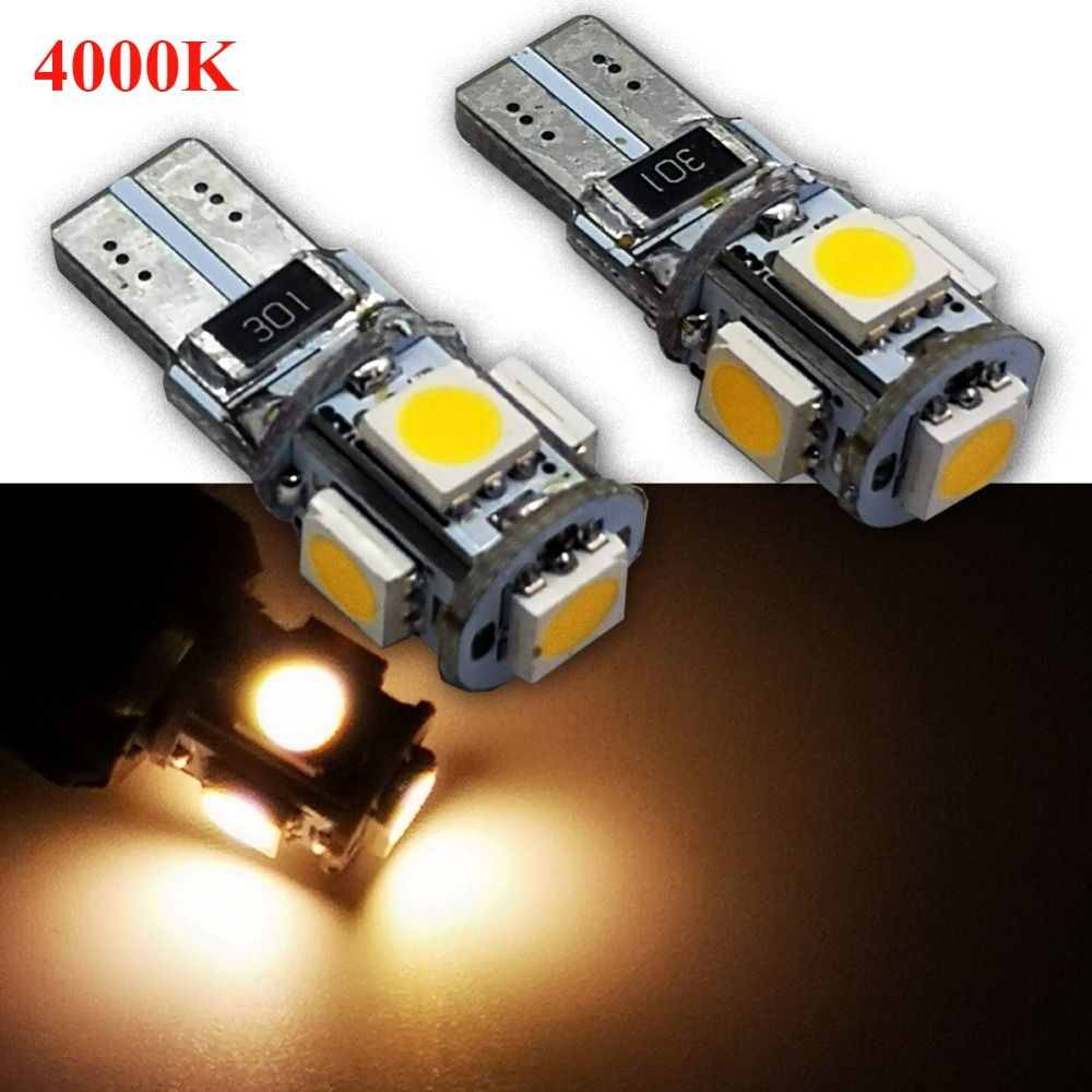 2PCS Warm White <font><b>4300K</b></font> High Power Canbus No Error SMD5050 <font><b>T10</b></font> W5W 168 194 Car <font><b>LED</b></font> Clearance Door Reading License Plate Lamp Bulb image