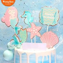 1 Set Beautiful Happy Birthday Mermaid Cake Topper Shell Sea Star Theme Decoration Fairy Party Pops Supplies
