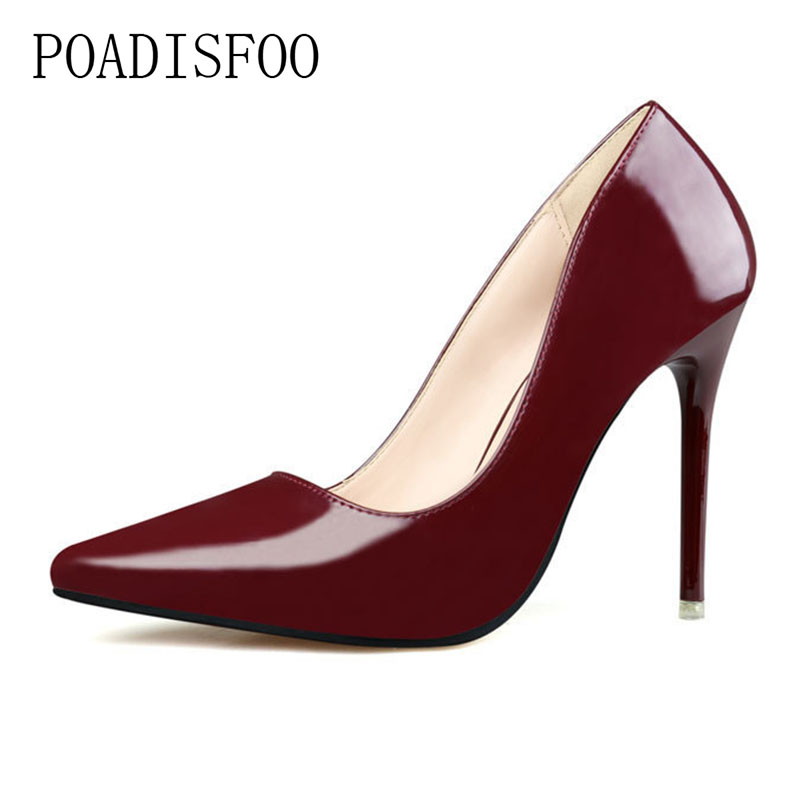 POADISFOO 2018 women pumps Simplicity OL Career With Super High With Shallow Mouth Sharp Sexy Thin women's Shoes .ZWM-1132-1 burgundy gray saphire blue pink women dress party career work shoes flock shallow mouth stiletto thin high heel pumps