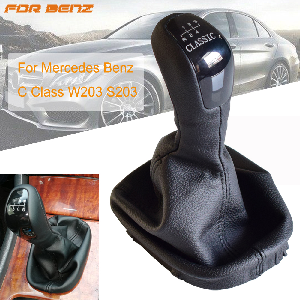 Car Gear Shift Knob For Mercedes Benz C Class W203 S203 High Quality 5 6Speed Stick Lever Knob Shifter Leather Gaitor Boot Cover