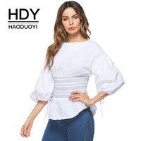 HDY Haoduoyi 2018 Spring White Blouse Bow Lantern Sleeve Bandage Elastic Waist Slim Shirts Women Blouses
