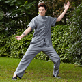 New Gray Chinese Men Tai Chi Uniform Traditional Linen Kung fu Suit Short Sleeve Wu Shu Clothing Size M To XXXL NS003