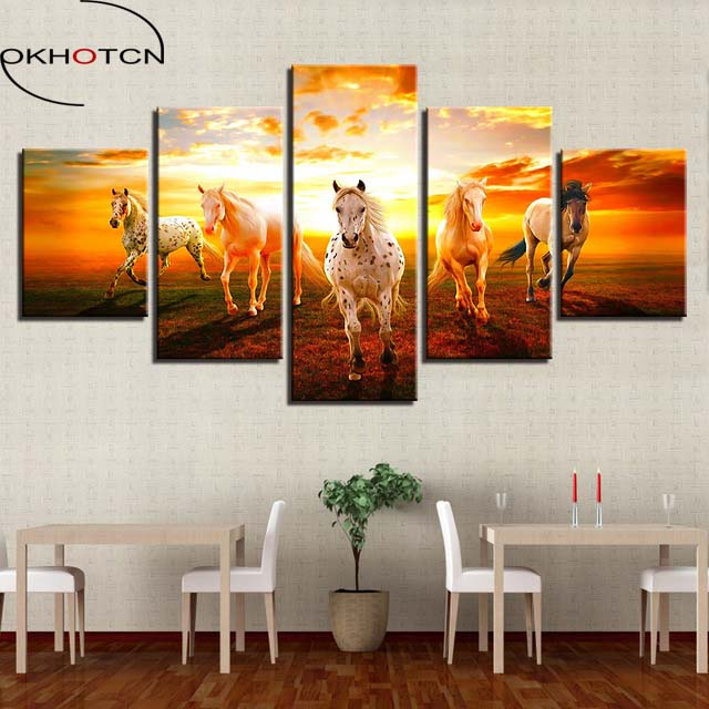 OKHOTCN Canvas Wall Art Poster HD Printed Pictures Framework 5 Pieces Sunset Prairie Horses Paintings Home Decor For Living Room