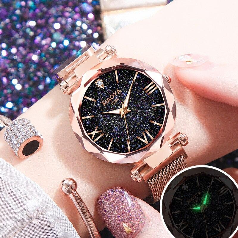 все цены на Zegarek Damski 2018 Watches Women Luxury Fashion Starry Sky Wristwatches for Ladies Rhinestone Quartz Watches relogio feminino онлайн